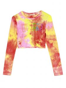 Lori Jane Big Girls Red Yellow Tie Dye Love Is Love Long Sleeve Crop Top 12-18