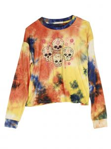 Lori Jane Big Girls Orange Yellow Tie Dye Flower Skull Long Sleeve Top 12-18
