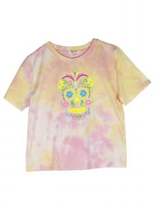 Lori Jane Big Girls Pink Yellow Tie Dye Skull Print Short Sleeve T-Shirt 12-18