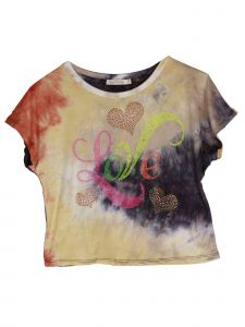 Lori Jane Big Girls Orange Yellow Tie Dye Love Hearts Short Sleeve Top 12-18