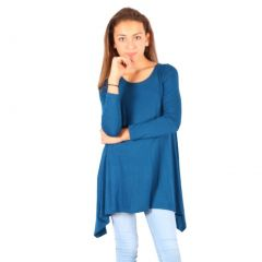 Lori&Jane Girls Blue Solid Long Sleeved Uneven Length Trendy Top 6-14
