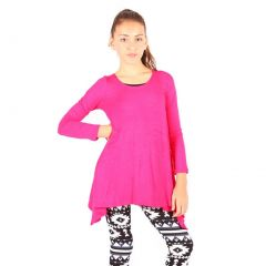 Lori&Jane Girls Fuchsia Solid Long Sleeved Uneven Length Trendy Top 6-14