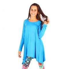 Lori&Jane Girls Turquoise Solid Long Sleeved Uneven Length Trendy Top 6-14