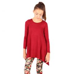 Lori&Jane Girls Burgundy Solid Long Sleeved Uneven Length Trendy Top 6-14
