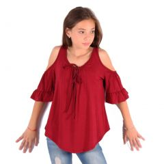 Lori&Jane Big Girls Burgundy Cold Shoulder 3/4 Sleeve Ruffle Top 6-14