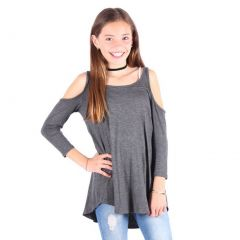 Lori&Jane Girls Gray Cold Shoulder Boat Neck Loose Fit Trendy Top 6-14