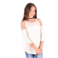 Lori&Jane Girls Oatmeal Cold Shoulder Boat Neck Loose Fit Trendy Top 6-14