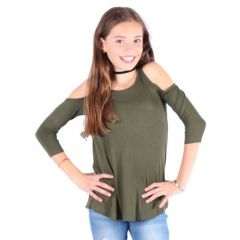 Lori&Jane Girls Olive Cold Shoulder Boat Neck Loose Fit Trendy Top 6-14