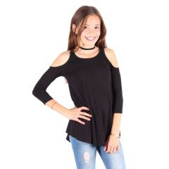 Lori&Jane Girls Black Cold Shoulder Boat Neck Loose Fit Trendy Top 6-14
