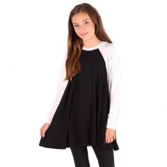 Lori&Jane Girls Black White Two-Tone Flared Long Sleeve Trendy Top 6-14