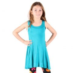 Lori&Jane Girls Turquoise Solid Color Loose Fit Sleeveless Trendy Tunic 6-14