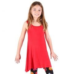 Lori&Jane Girls Red Solid Color Loose Fit Sleeveless Trendy Tunic 6-14