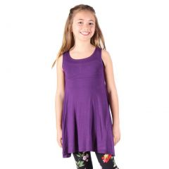 Lori&Jane Girls Purple Solid Color Loose Fit Sleeveless Trendy Tunic 6-14