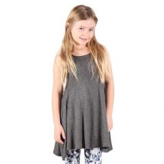 Lori&Jane Girls Gray Solid Color Loose Fit Sleeveless Trendy Tunic 6-14