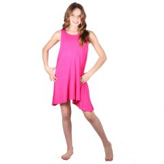 Lori&Jane Girls Hot Pink Solid Color Loose Fit Sleeveless Tunic Dress 6-14