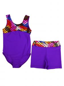 Wenchoice Girls Purple Rainbow Mermaid Scale Leotard Shorts Set 24M-10