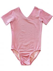 Wenchoice Girls Pink Shiny Short-Sleeve Stylish Dancewear Leotard 9M-8