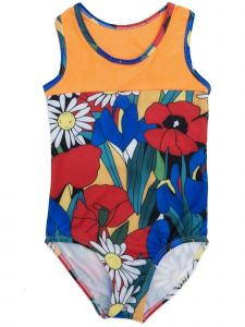 Wenchoice Girls Orange Multi Flower Print T-Back Sleeveless Leotard 9M-8