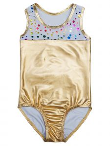 Wenchoice Girls Gold Rainbow Polka Dot T-Back Sleeveless Leotard 9M-8