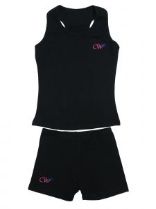 Wenchoice Girls Black Cotton Gymnastic Training Tank Top Shorts 2 Pc Set 9M-8