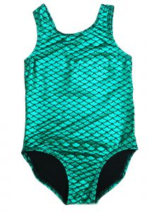 Wenchoice Girls Green Fish Scale Mermaid Tank Leotard 24M-10
