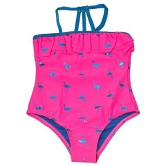 Limited Too Little Girls Fuchsia Flamingo Print Ruffle One Piece Swimsuit 2-4T