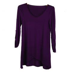 Luna West Womens Plum Solid Color Roll Up Sleeves Wrap Style Top S