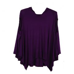 Luna West Womens Plum Solid Color Hoodie Poncho Sleeveless Top L