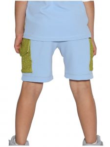 Lanoosh Little Boys Color Block Blue Knee Shorts 2-7