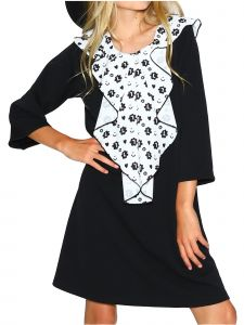 Lanoosh Big Girls Black Splash Mono 3/4 Sleeves Round Neck Dress 8-14