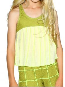 Lanoosh Big Girls Green La Maggie Kanach Sleeveless Round Neck Top 8-14