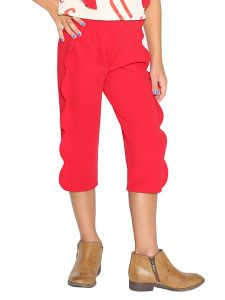 Lanoosh Little Girls Red Side Seam Scallop Detail Dove Pants 2-7