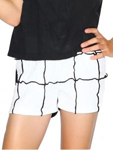 Lanoosh Big Girls White Karakusi Spite Fitted Silhouette Shorts 8-14