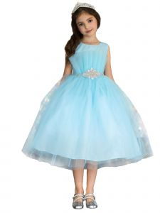 Big Girls Light Blue Pleated Flared Top Rhinestone Flower Girl Easter Dress 8-16