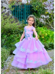 Girls Lilac Embroidered Applique Multi-Layered Tulle Flower Girl Dress 2-10