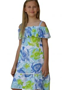 Little Girls Green Blue Sea Turtles Print Off-Shoulder Ruffle Cindy Dress 2T-6X