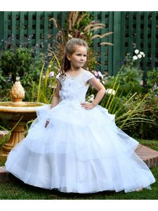 TriumphDress Big Girls White Chic Lace Los Angeles Flower Girl Dress 6/7