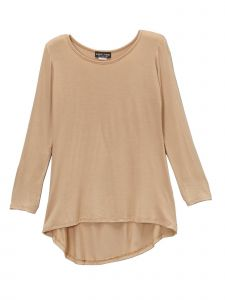 Lori&Jane Big Girls Tan Long Sleeve Hi-Low Tunic 6-14