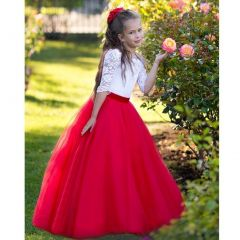 Triumph Dress Girls White Red Tulle Lace Lucia Flower Girl Dress 6-8