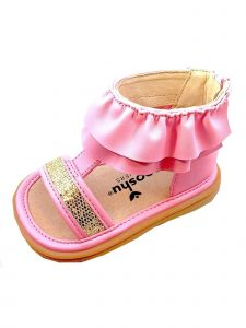 Mooshu Trainers Little Girls Pink Ruffle Zip Squeaky Lucy Sandals 5-9 Toddler