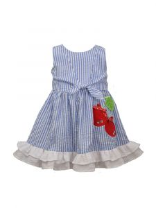 Bonnie Jean Little Girls Blue Tie Front Seersucker Cherry Sundress 2T-6X