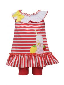 Bonnie Jean Baby Girls Red Sleeveless Smocked Neckline Shorts Outfit 12M-24M