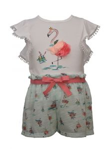 Bonnie Jean Baby Girls Mint Flamingo Top Printed Paperbag Shorts Outfit 12-24M