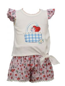 Bonnie Jean Little Girls Pink Flutter Sleeved Bubble Shorts Outfit 2T-4T