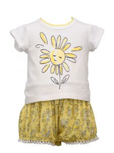 Bonnie Jean Little Girls Yellow Happy Sun Bubble Shorts Outfit 2T-4T