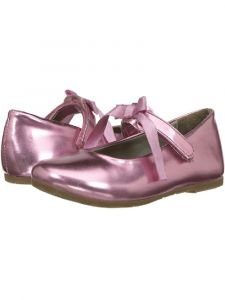 Pazitos Little Girls Metallic Pink Ballerina Mary Jane Shoes 4 Baby-10.5 Kids