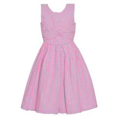 Bonnie Jean Baby Girls Pink Stripe Back Button Sleeveless Casual Dress 12-24M