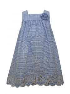 Bonnie Jean Little Girls Blue Scalloped Hem Square Yoke Sundress 2T-6X