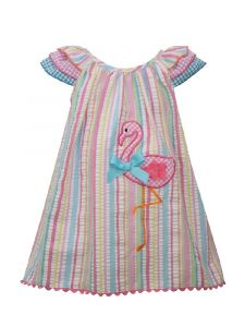 Bonnie Jean Little Girls Multi Flutter Sleeve Flamingo Striped Sundress 2T-6X