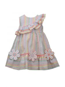 Bonnie Jean Little Girls Multi Colored Ruffled Flower Striped Sundress 2T-6X